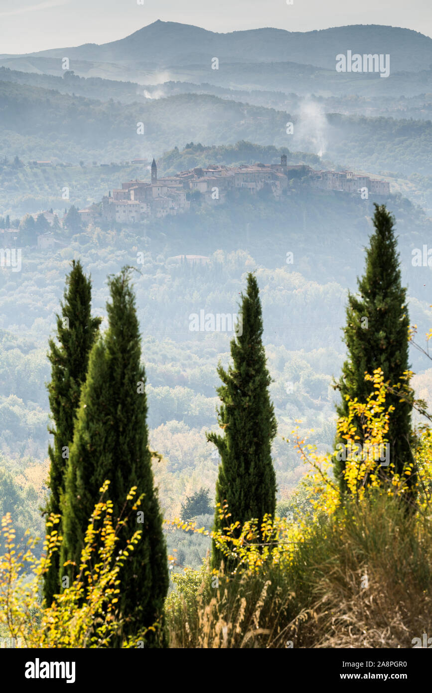General view of the Seggiano, Tuscany, Italy, Europe. Stock Photo