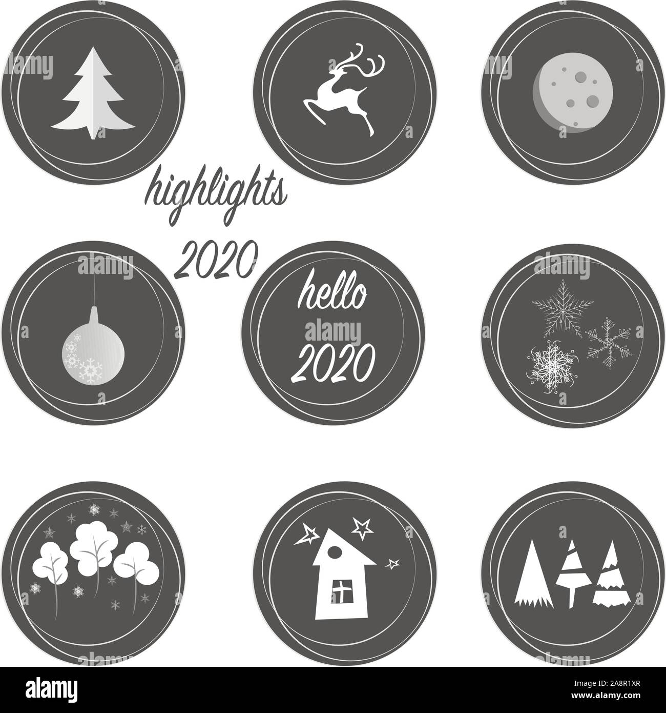 Set Of Highlights Stories Covers Icons In Grey And White Colors Perfect For Bloggers Fully Editable Scalable Vector File New Year And Christmas Or Stock Vector Image Art Alamy
