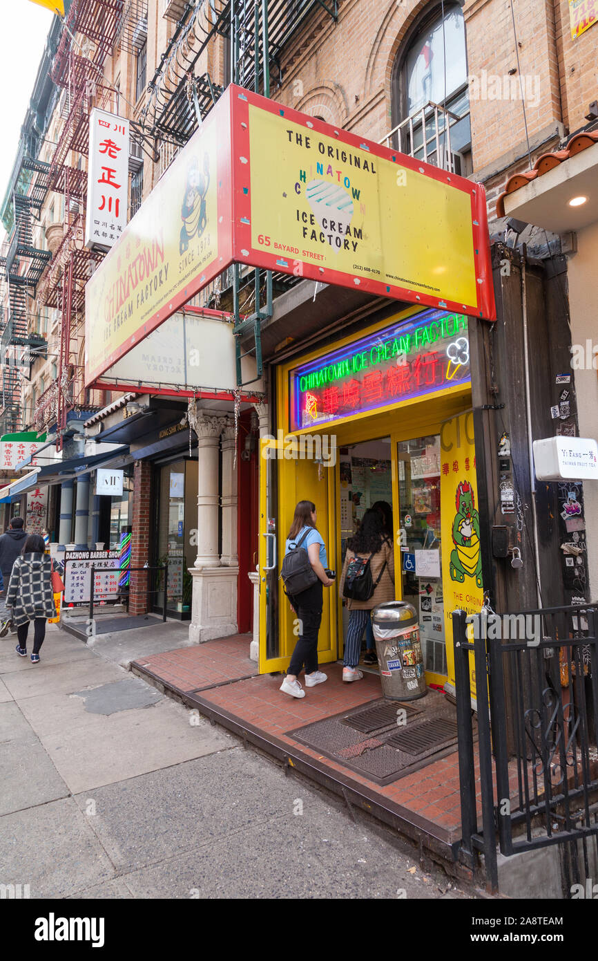 Chinatown Ice Cream Factory, 65 Bayard St, Lower East Side, New York City, NY, United States of America. Stock Photo