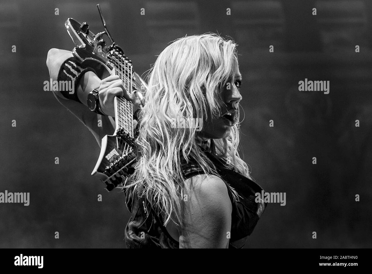 LONDON, ENGLAND: Alice Cooper performs at The O2 Arena Featuring: Nita Strauss Where: London, United Kingdom When: 10 Oct 2019 Credit: Neil Lupin/WENN Stock Photo