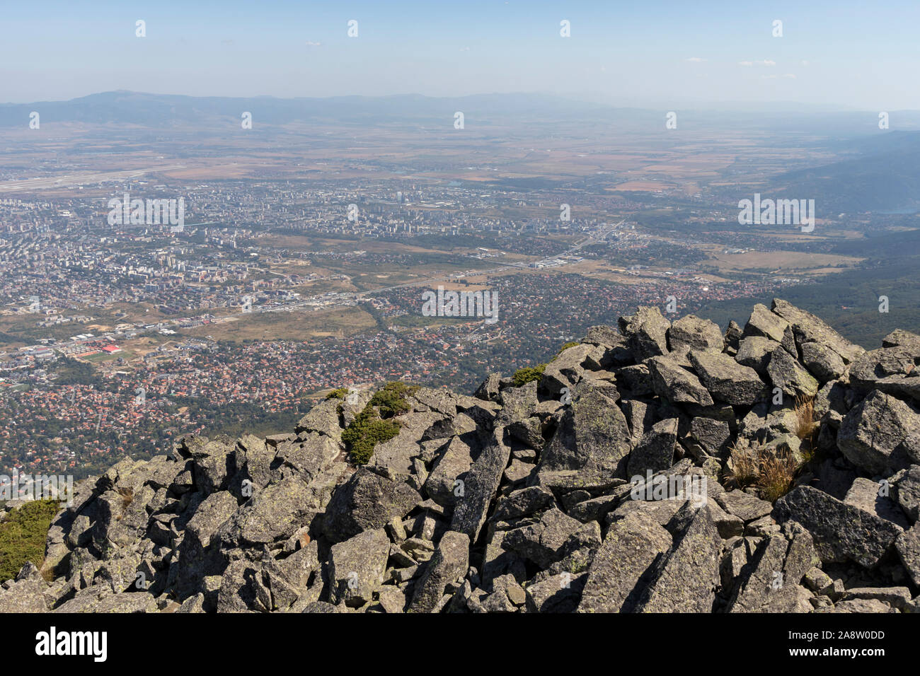 Amazing panorama of city of Sofia from Kamen Del Peak at Vitosha Mountain, Bulgaria Stock Photo
