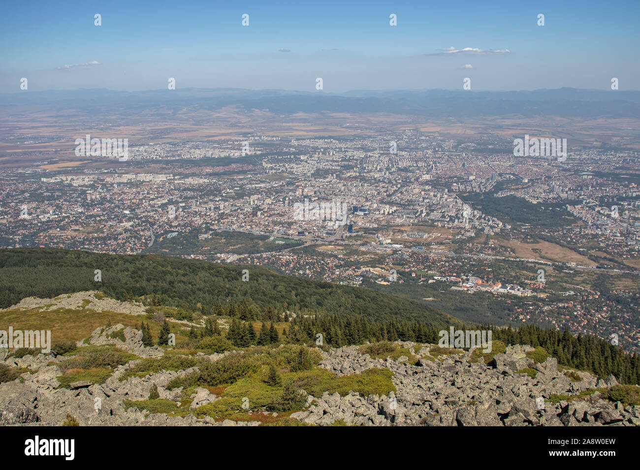 Amazing panorama of city of Sofia from Kamen Del Peak at Vitosha Mountain, Bulgaria Stock Photo