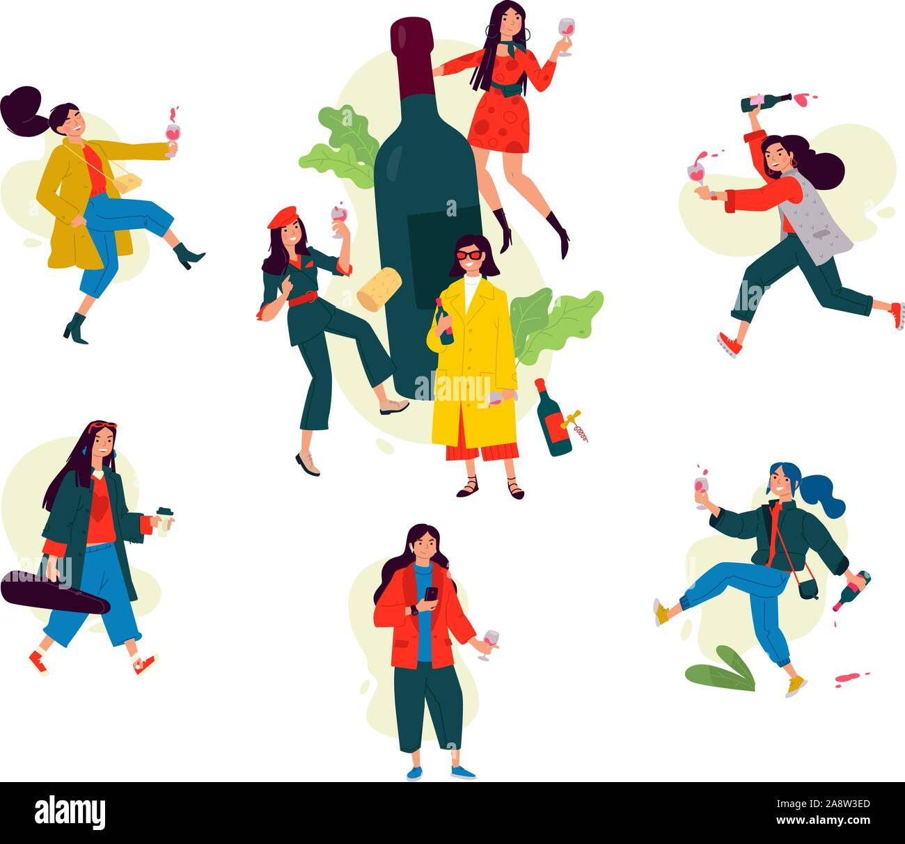 Illustration of dancing girls around a bottle of wine. Vector. Women celebrate the holiday, have fun and relax. Party all night long March 8th. Slight Stock Vector