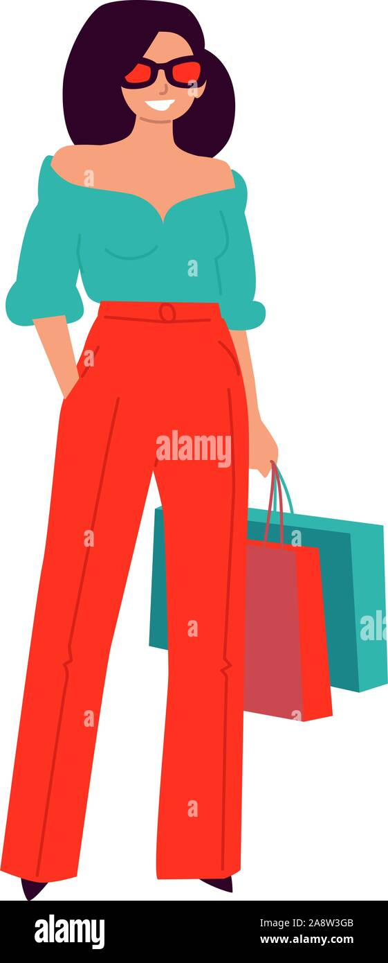 Illustration of a cute fashionable in red pants. Vector. Woman shopper, shopaholic. Fashionable casual girl. Flat style. Stock Vector