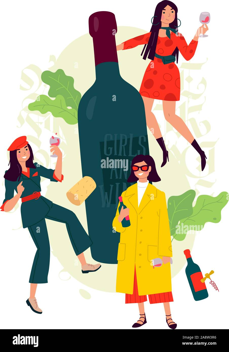 Illustration of girls with a glass of wine around the bottle. Vector. Women celebrate the holiday, have fun and relax. Party all night March 8th. Slig Stock Vector