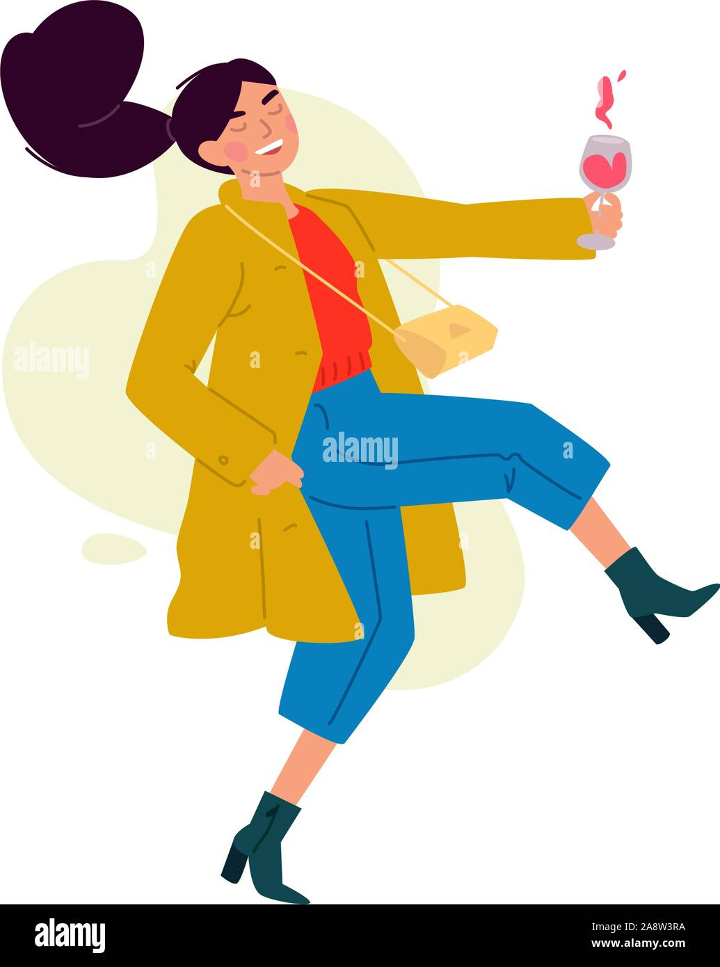 Illustration of a girl with a glass of wine. Vector. A woman celebrates a holiday, drinks wine and dances. Rest and party. Fun all night. A little bit Stock Vector