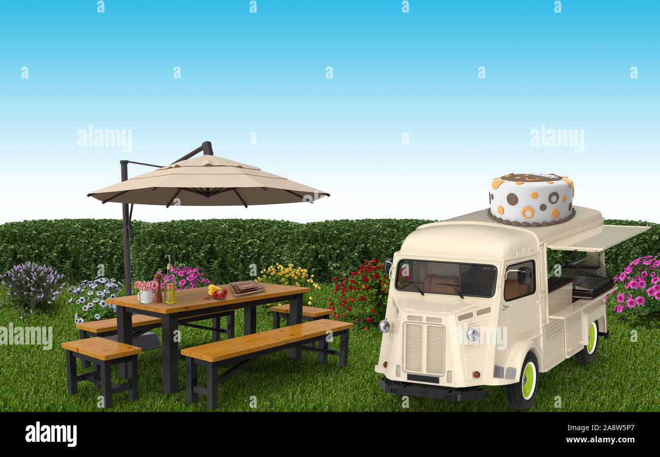 Food Truck Is Stopping In A Garden With A Birthday Cake On It S Rooftop Over Green Grasses 3d Rendering Stock Photo Alamy