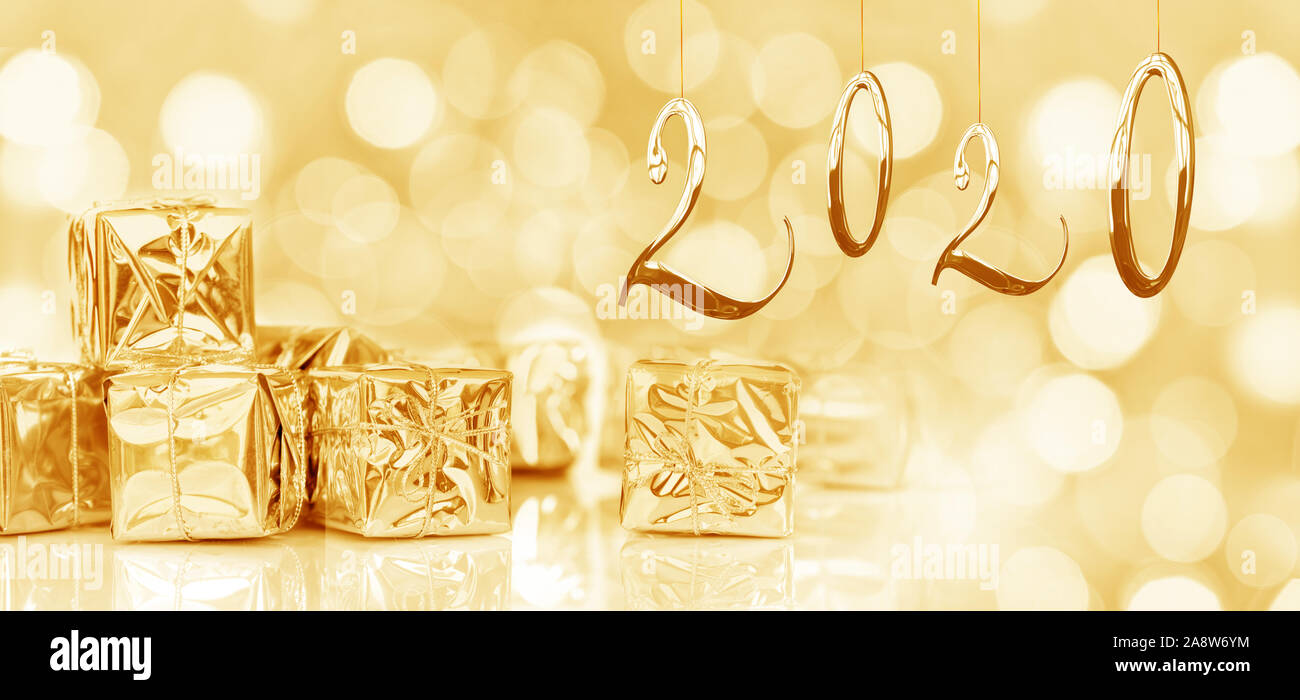 Small Christmas Cards 2020 2020, new year card, small Christmas gifts in shiny golden paper
