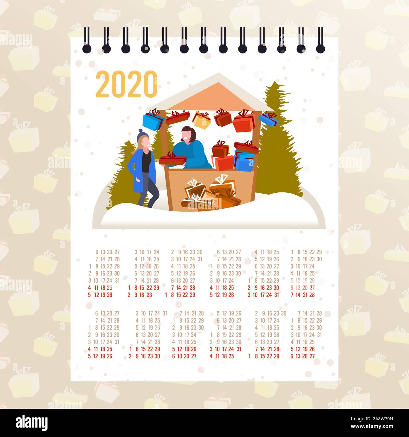 Stock Market Christmas Gifts 2020 woman buying present box in gifts stall moon 2020 calendar