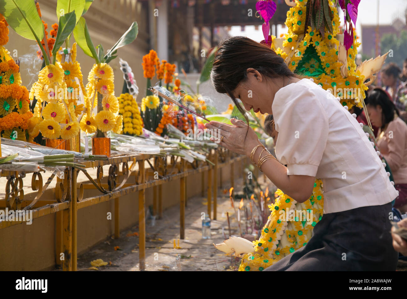 Vientiane, Laos. 11th Nov, 2019. People attend the almsgiving activity around the That Luang Stupa in Vientiane, capital of Laos, Nov. 11, 2019. Considered as the most important religious festival in Laos, the That Luang Festival, which falls from Nov. 5 to Nov. 11 this year, concluded on Monday with a mass almsgiving activity held in and around the That Luang Stupa in Vientiane. Credit: Kaikeo Saiyasane/Xinhua/Alamy Live News Stock Photo