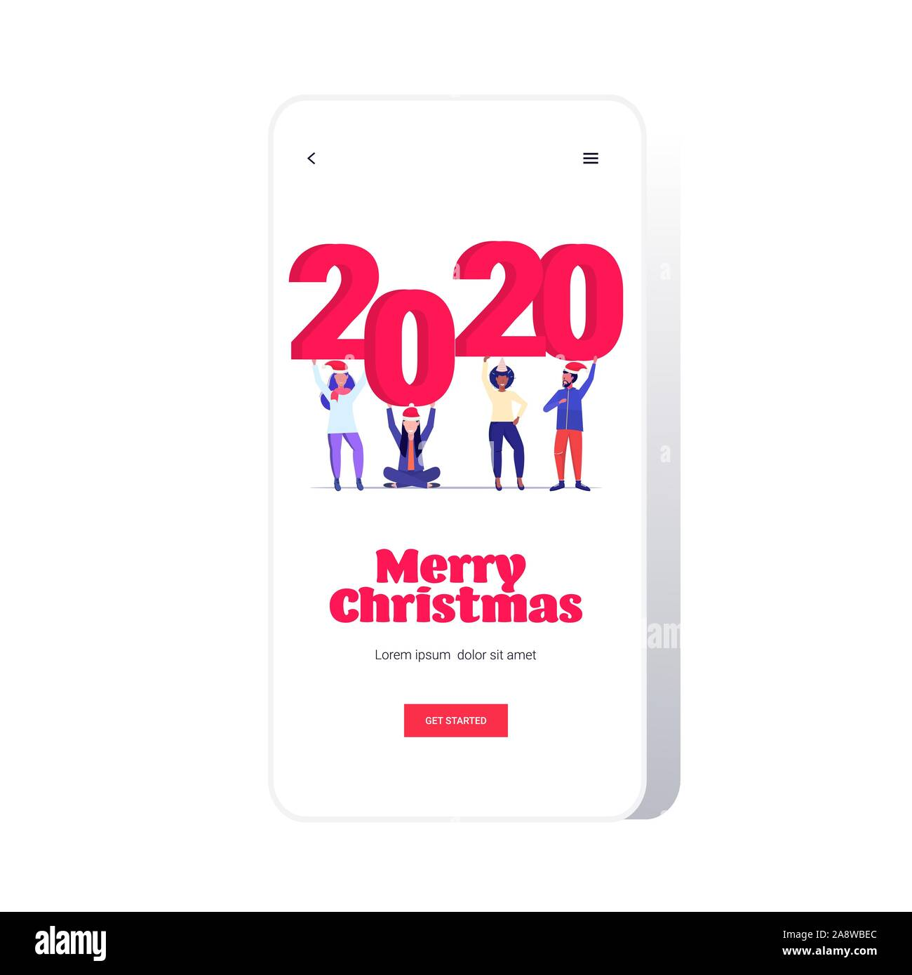 New Phones For Christmas 2020 mix race people holding number 2020 c merry christmas happy new
