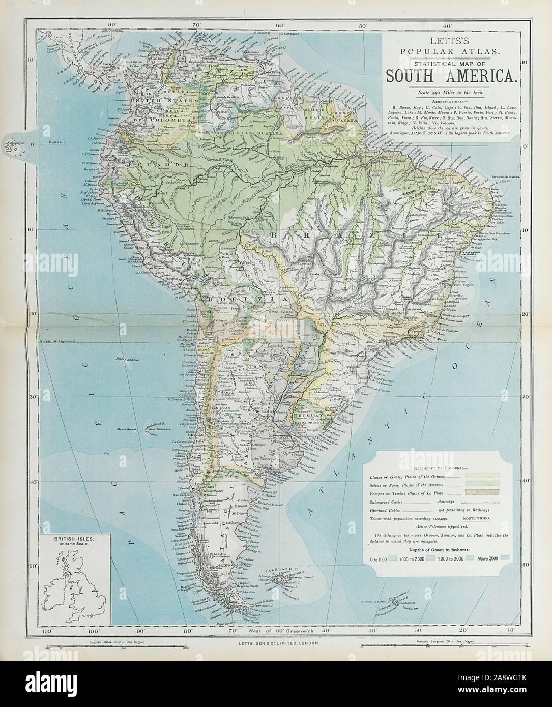 SOUTH AMERICA. Amazon rainforest. Pampas Selvas Llanos ... on
