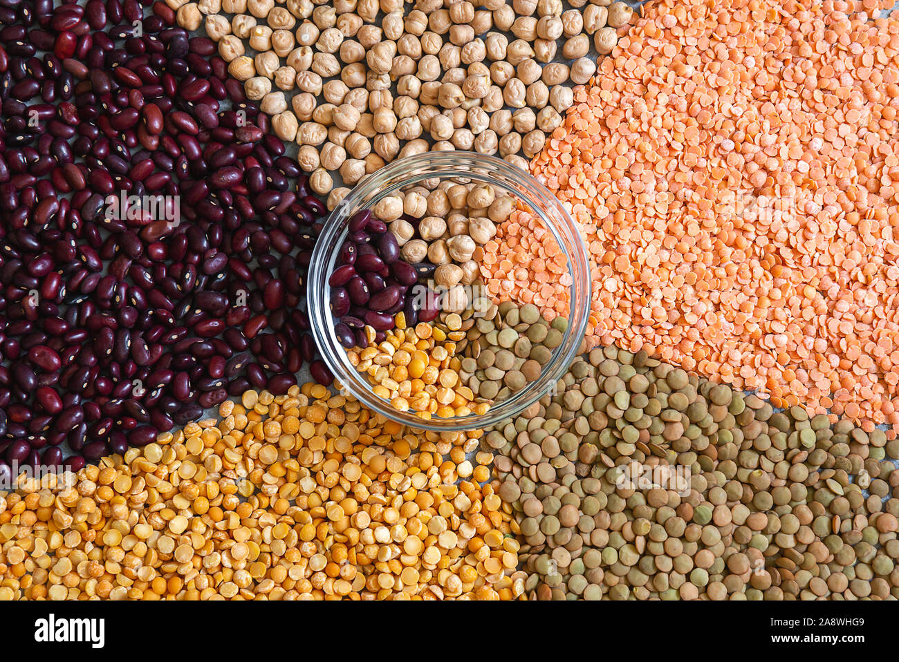 Geometric patterns of various colorful dried legumes beans for background Stock Photo