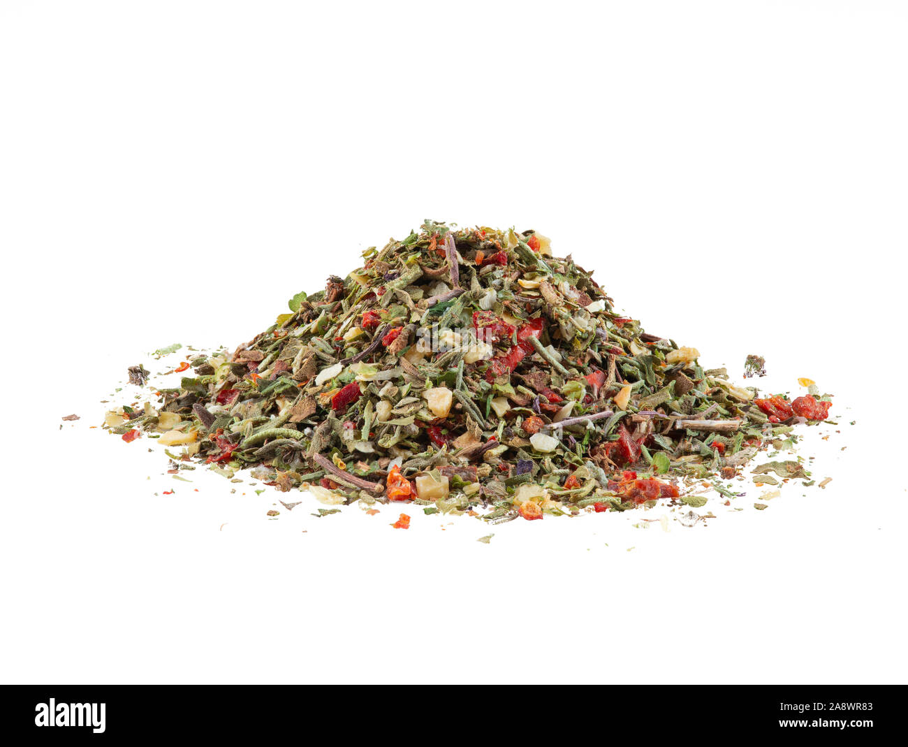 Pile of some chopped, mixed herbs isolated on white background with copy space for text or images. Spices. Food, cooking, restaurant, packaging concep Stock Photo
