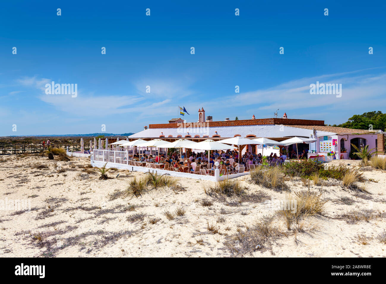 09.16.2019. Algarve, Portugal. The restaurant at Barril beach. Santa Luzia Stock Photo