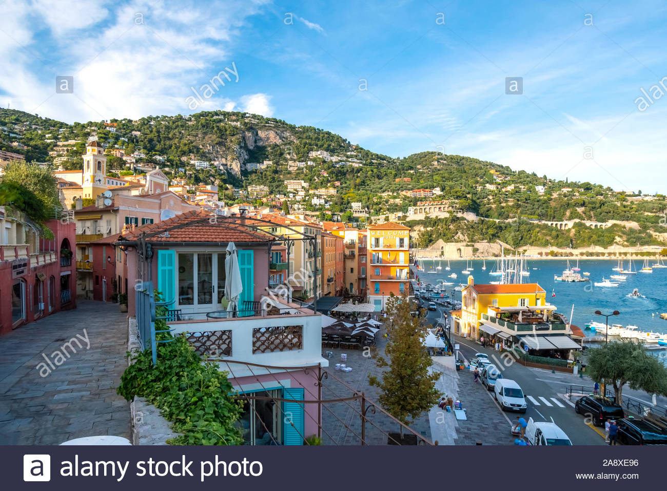 Scenic view of the colorful town, bay and marina of Villefranche Sur Mer, on the French Riviera coast of Southern France. Stock Photo