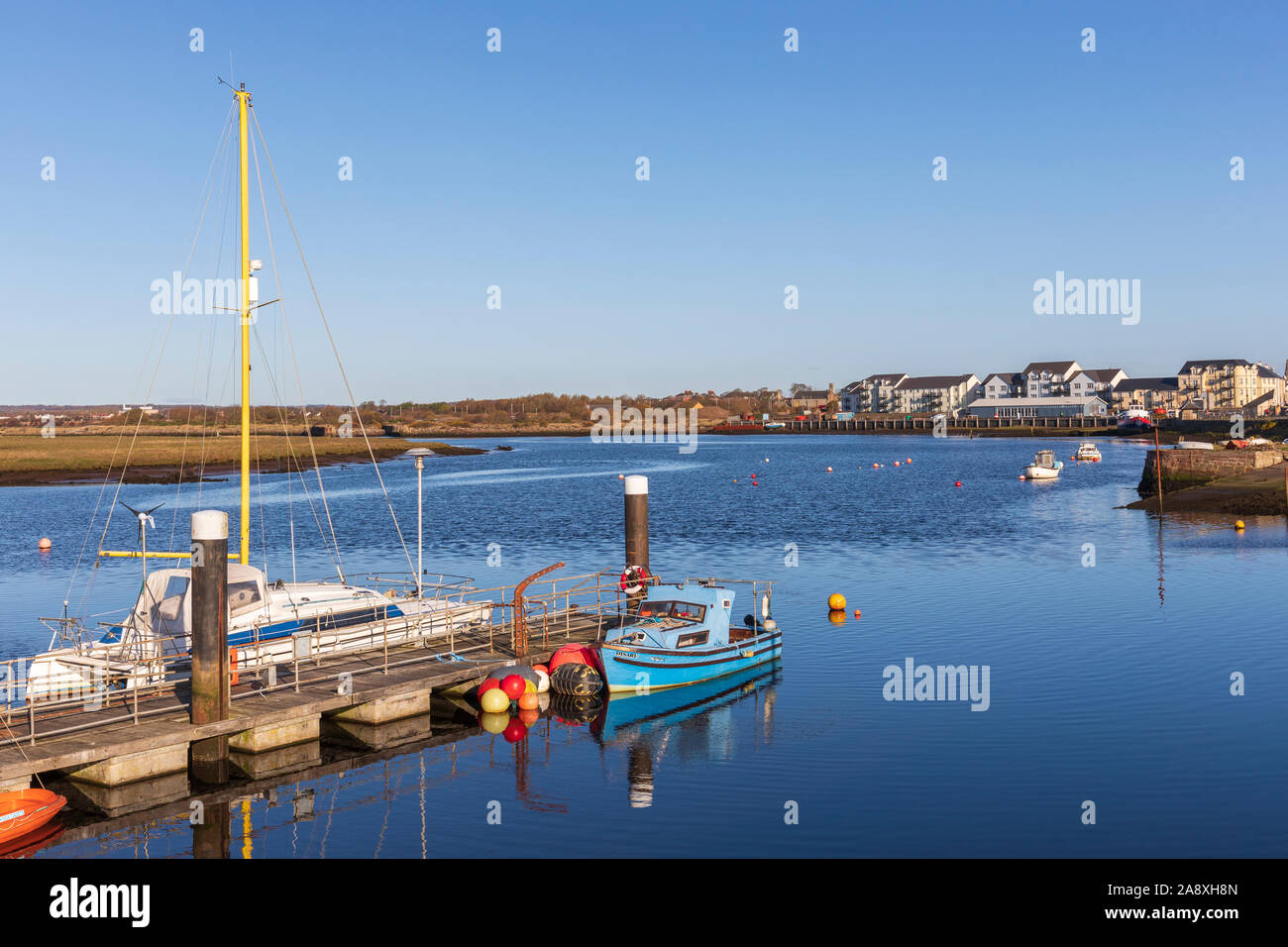 Irvine harbour, on the Firth of Clyde and River Irvine Ayrshire, Scotland, UK Stock Photo