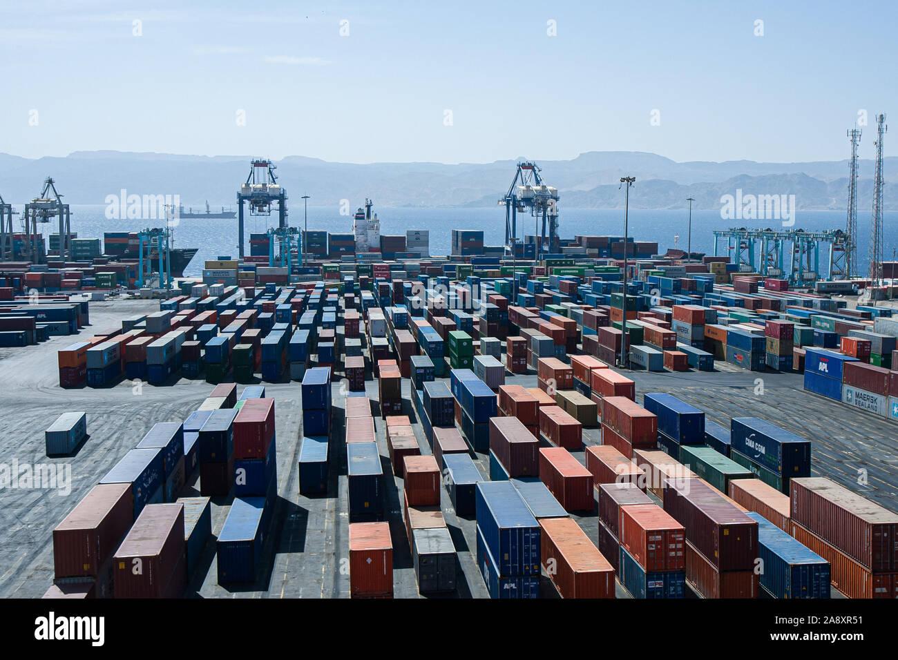 Aqaba, Jordan, April 27, 2009: Containers at the port of Aqaba in Jordan. Stock Photo