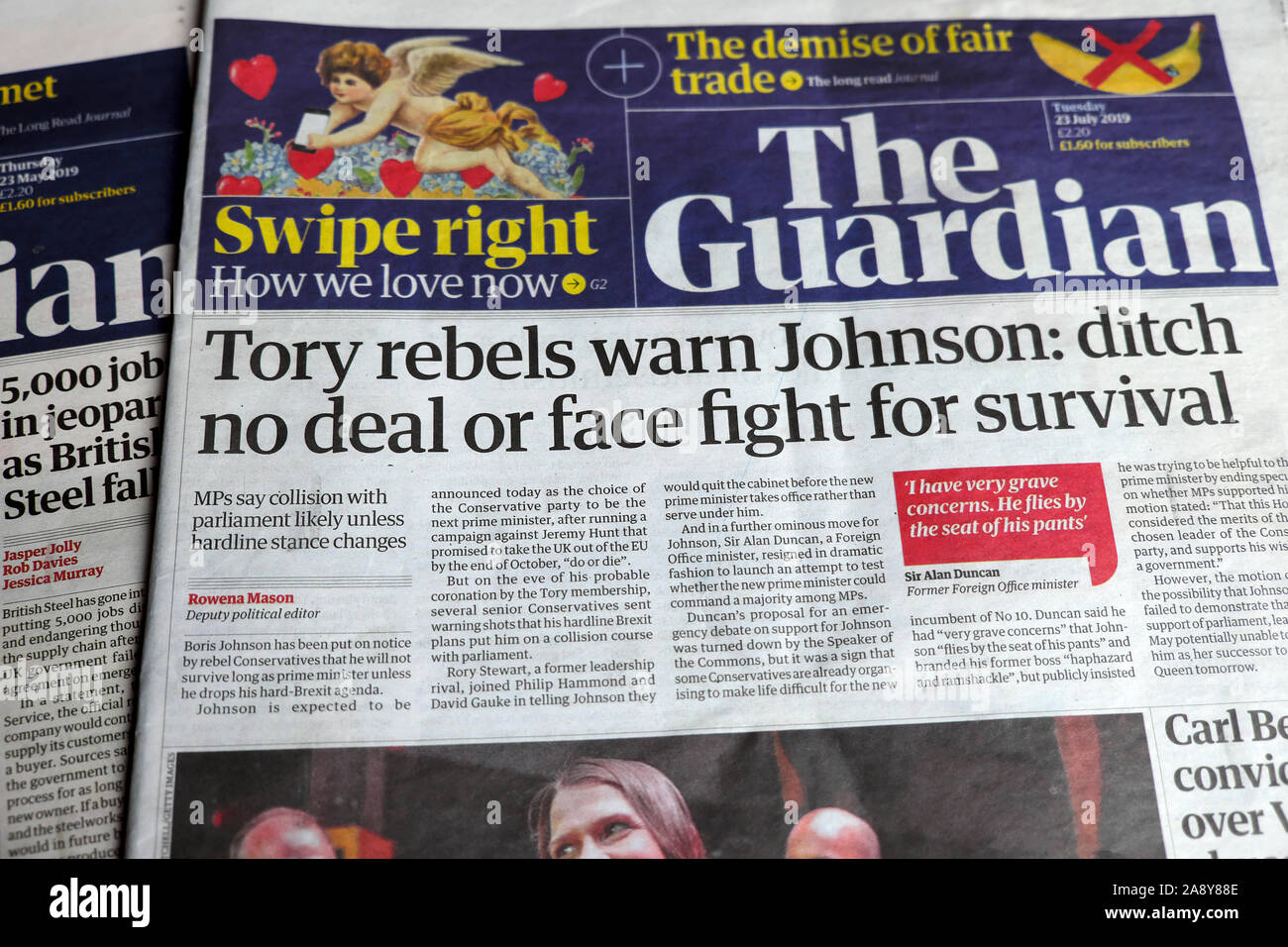 """Tory rebels warn Johnson: ditch no deal or face fight for survival"" newspaper headline in the Guardian London England 23 July 2019 UK Stock Photo"