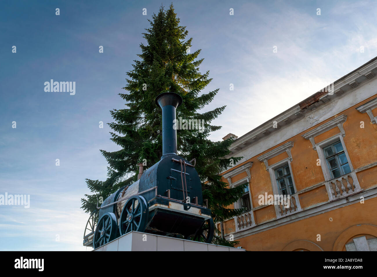 November 9, 2019 Nizhny Tagil, Sverdlovsk Region, Russia. Model of the first Russian steam locomotive built by serf mechanics Cherepanovs in 1834. Stock Photo