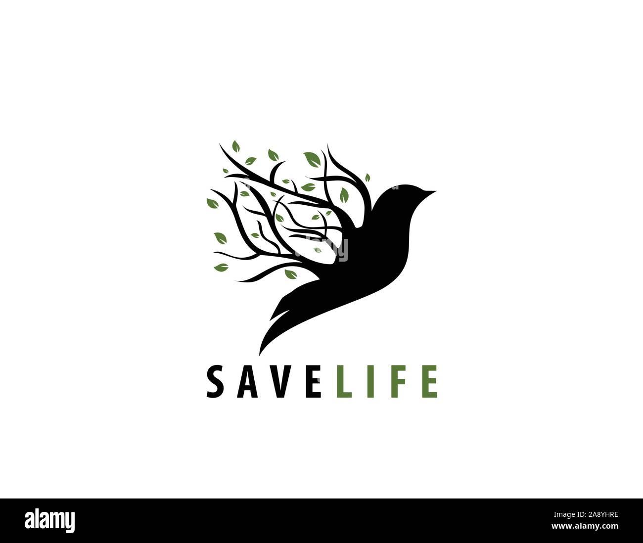 Save life bird tree vector- illustration Stock Vector