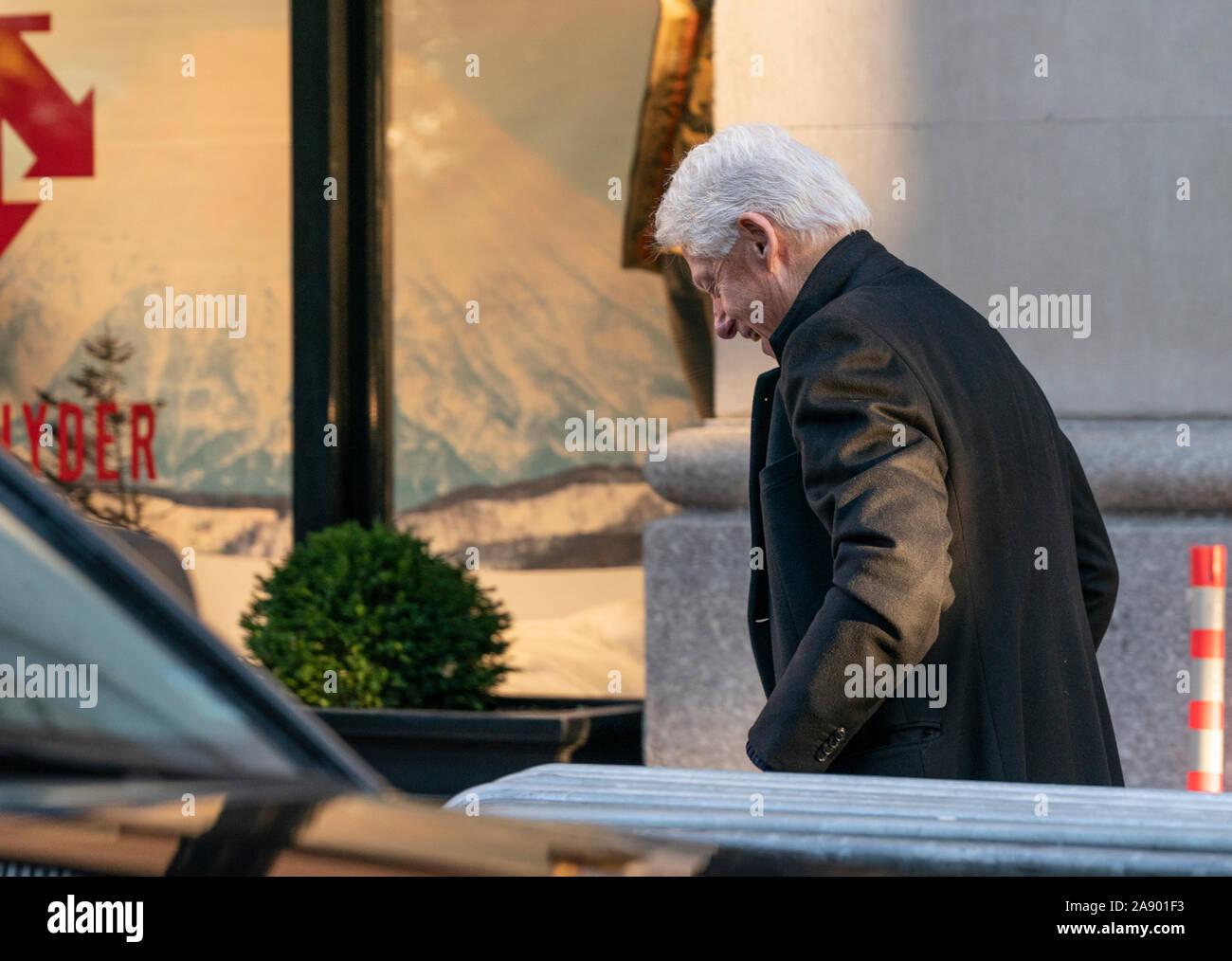 New York, NY - November 11, 2019: Former US President Bill Clinton arrives for breakfast at Blackbarn restaurant Stock Photo