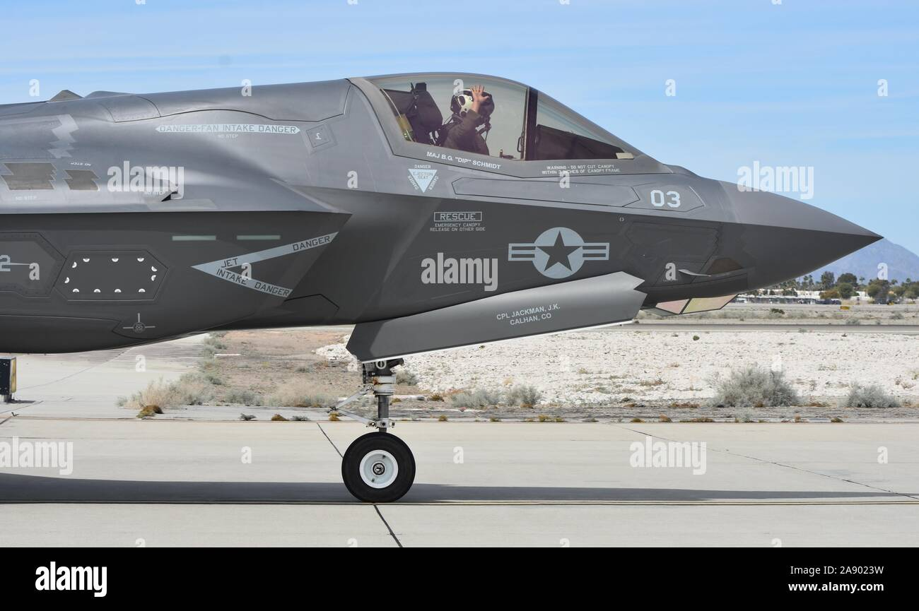 A Marine Corps F-35B Joint Strike Fighter (Lightning II) taxiing on the runway at MCAS Yuma. Stock Photo