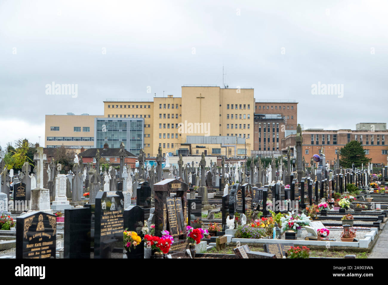 Saint Peter's Cemetery in Drogheda Ireland, with the Lourdes Hospital in the background Stock Photo
