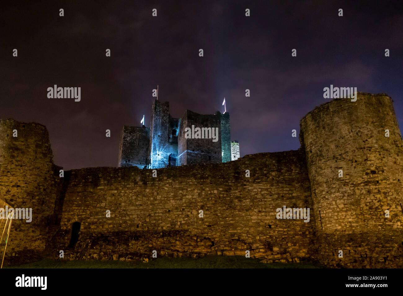 Trim Castle at night Stock Photo