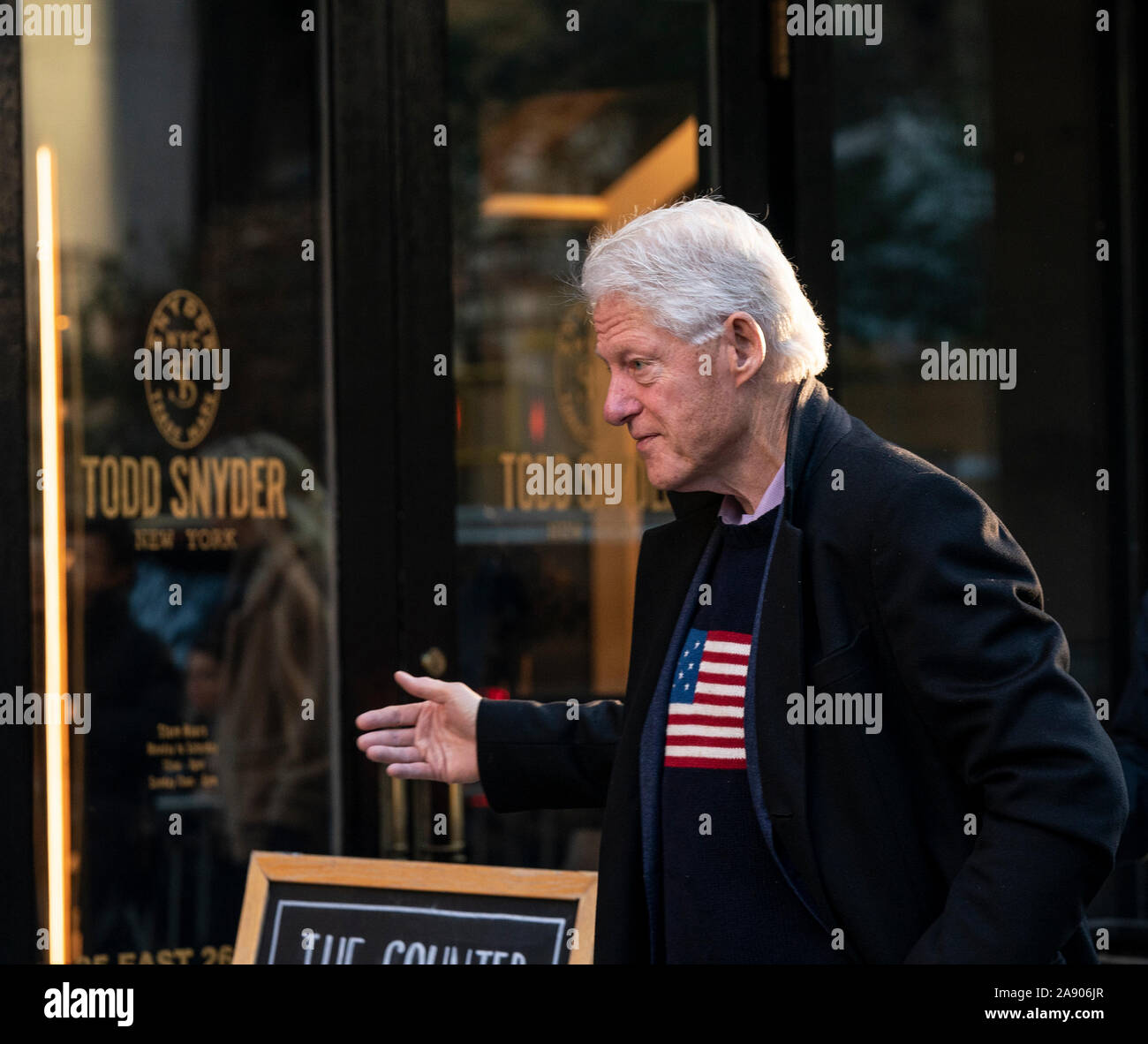 New York, United States. 11th Nov, 2019. Former US President Bill Clinton arrives for breakfast at Blackbarn restaurant. (Photo by Lev Radin/Pacific Press) Credit: Pacific Press Agency/Alamy Live News Stock Photo