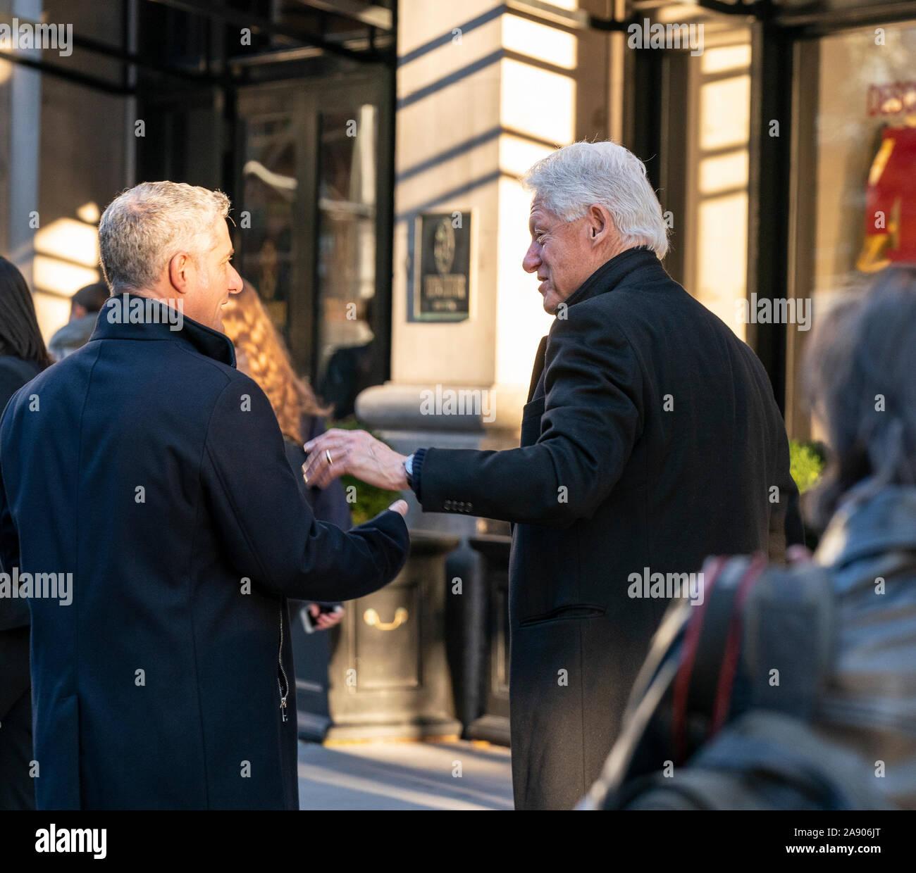 New York, United States. 11th Nov, 2019. Former US President Bill Clinton arrives for breakfast at Blackbarn restaurant. (Photo by Lev Radin/Pacific Press) Credit: Pacific Press Agency/Alamy Live News Stock Photo