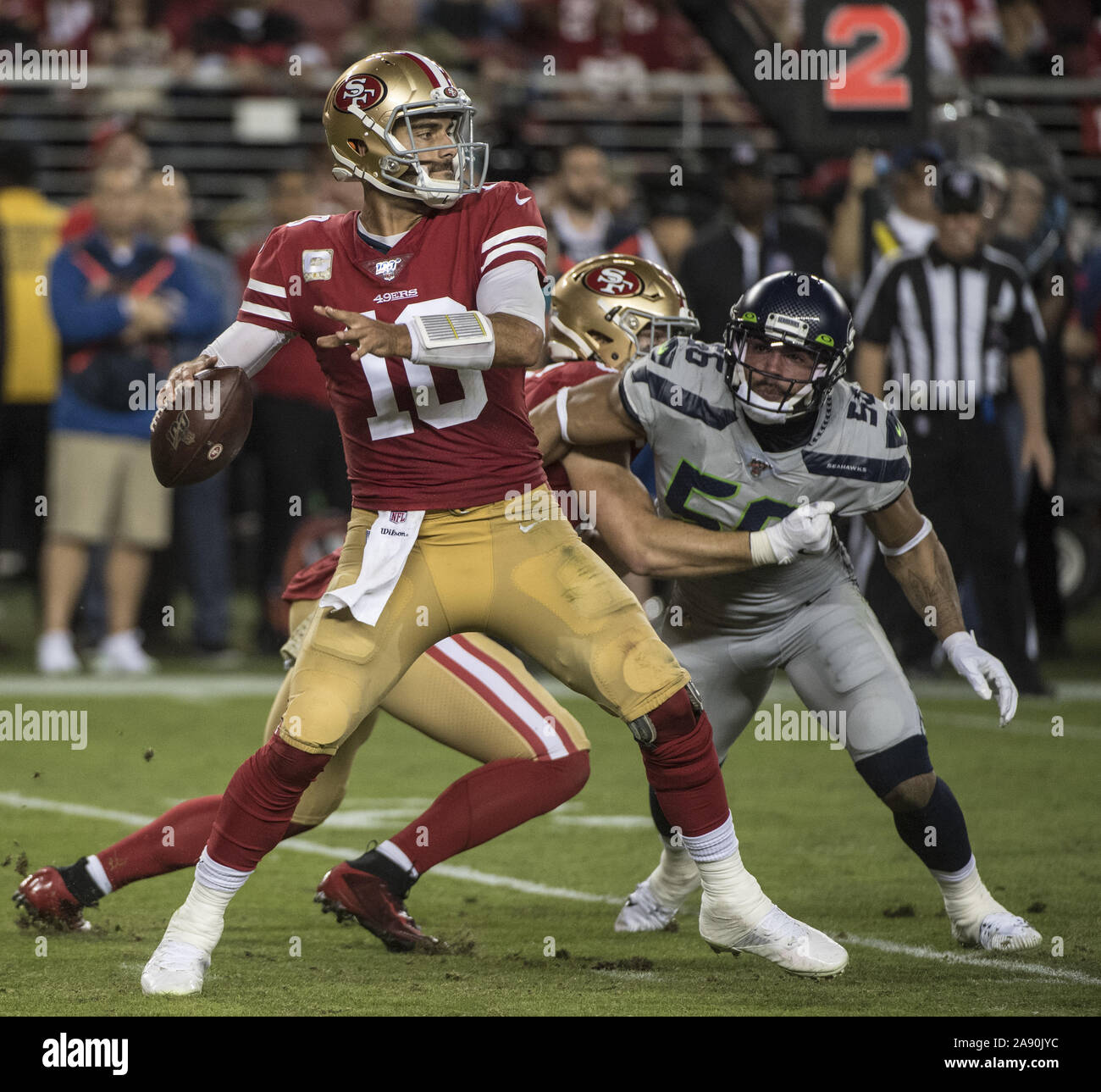 Santa Clara, California, USA . 11th Nov, 2019. San Francisco 49ers quarterback Jimmy Garoppolo (10) throws against the Seattle Seahawks in the third quarter at Levi's Stadium in Santa  Clara, California on Monday, November 11, 2019. The Seahawks defreated the 49ers 27-24 in overtime.    Photo by Terry Schmitt/UPI Credit: UPI/Alamy Live News Stock Photo