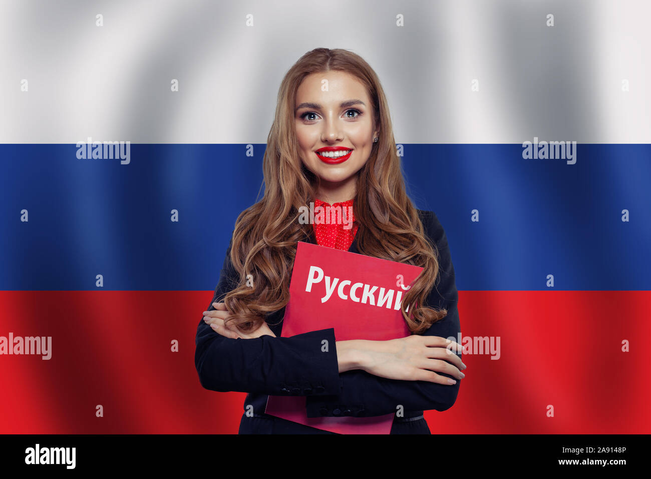 Russia Concept With Happy Woman Student With Red Book On The Russian Federation Flag Background Learn Russian Language Book With Inscription Russian Stock Photo Alamy