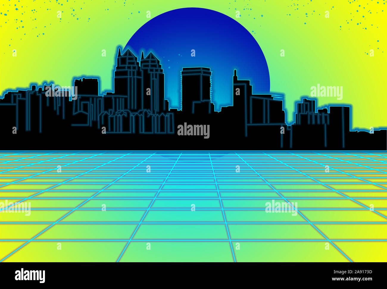 80s Style Sci Fi Yellow Background With Blue Sunset Behind Black