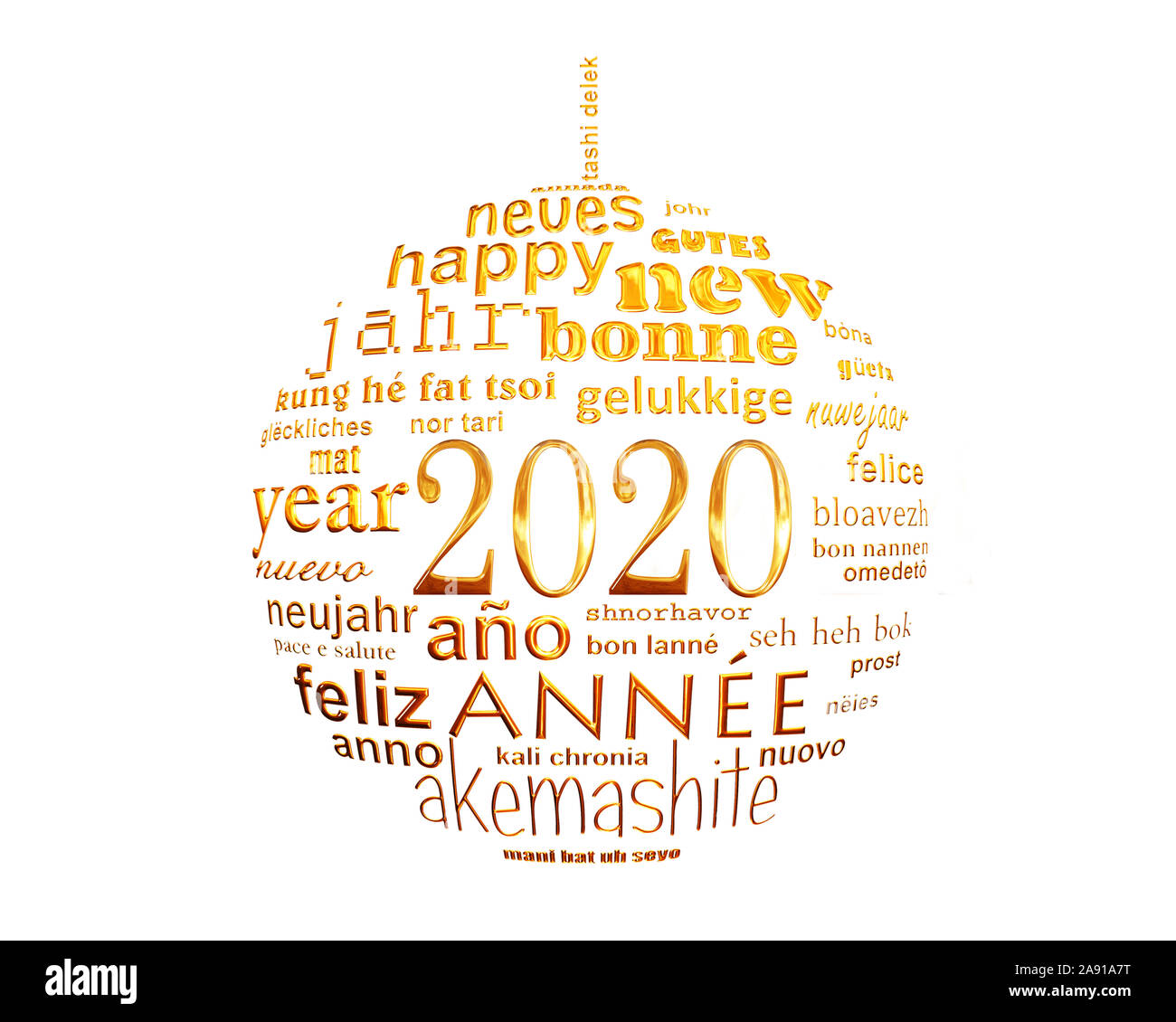 2020 new year white and gold multilingual text word cloud greeting card in the shape of a christmas ball Stock Photo
