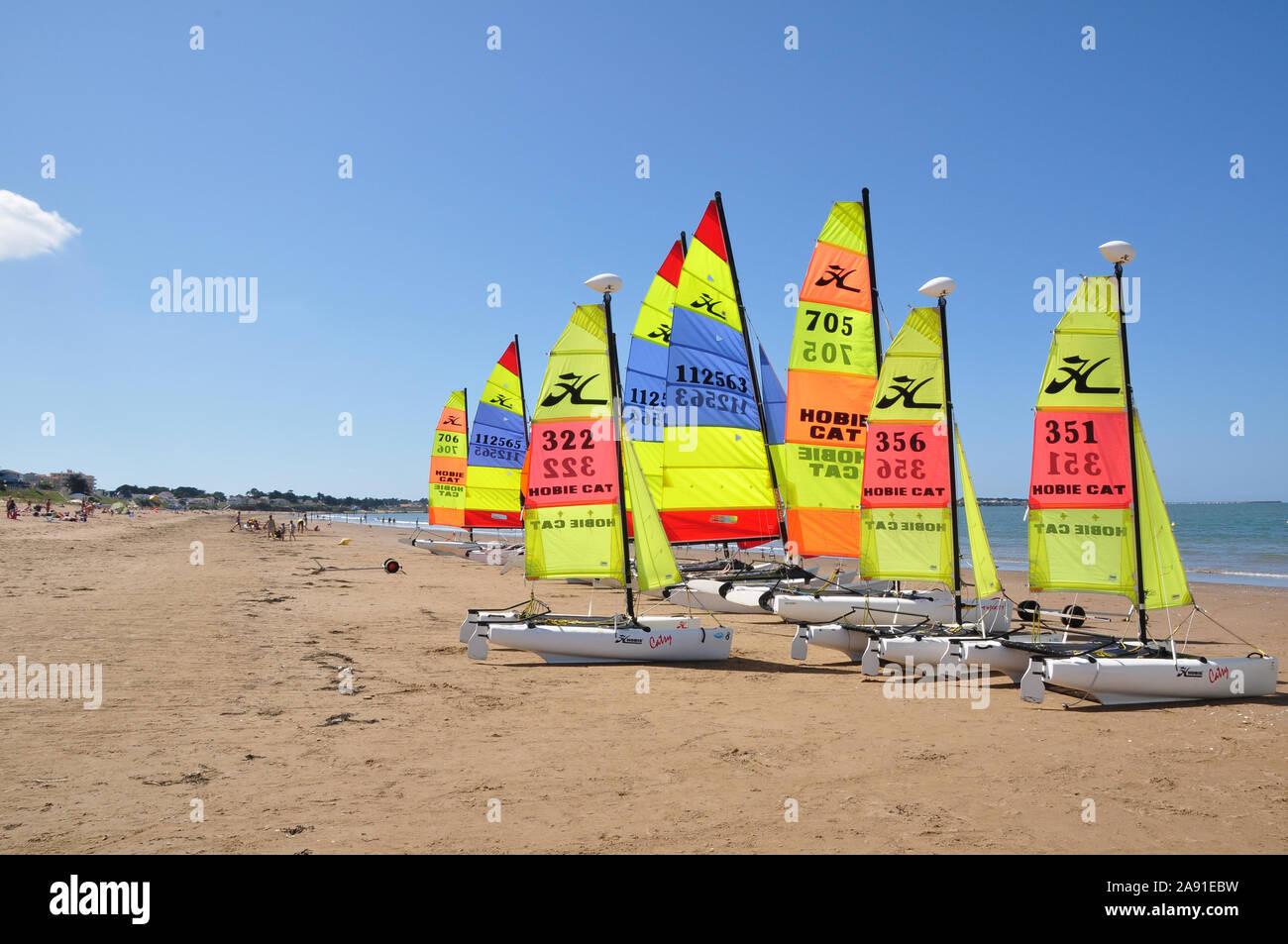Catamarans on Tharon beach, Loire Atlantique, Stock Photo