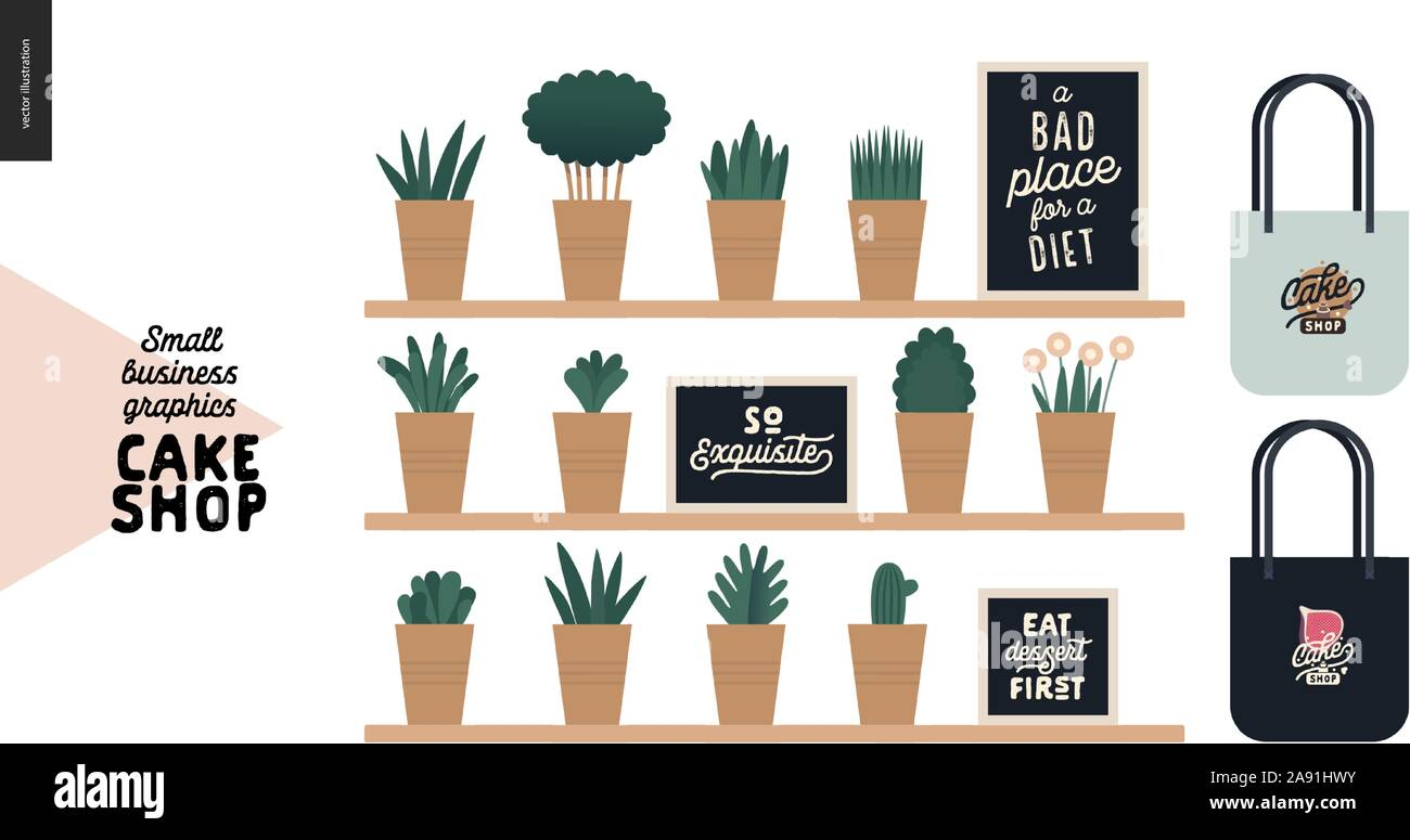 Cake Shop Cakes On Demand Small Business Graphics Interior Decoration Modern Flat Vector Concept Illustrations Shelves And Plants Quotes Bra Stock Vector Image Art Alamy