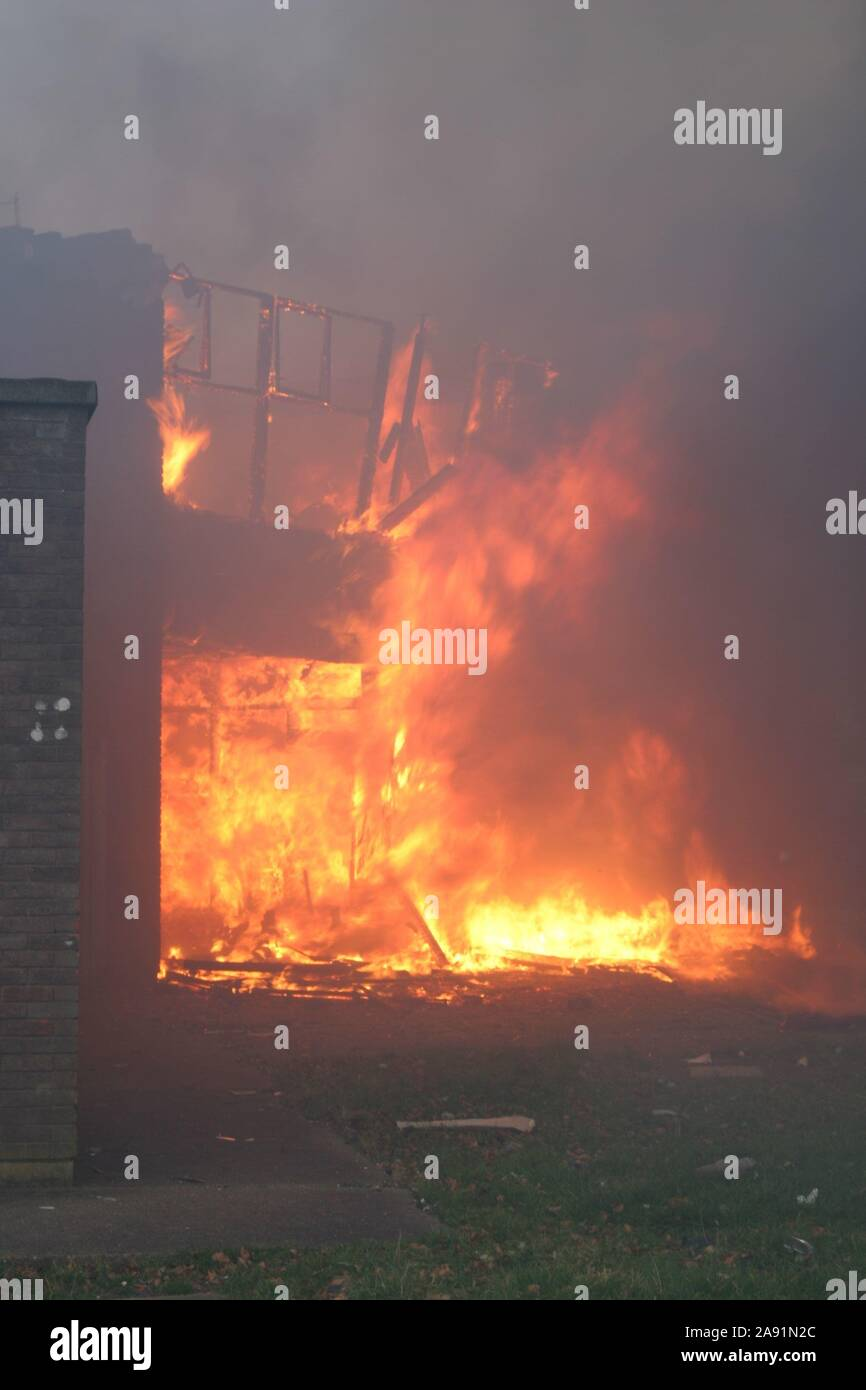 Building, fire flammable external cladding, Combustible cladding Stock Photo