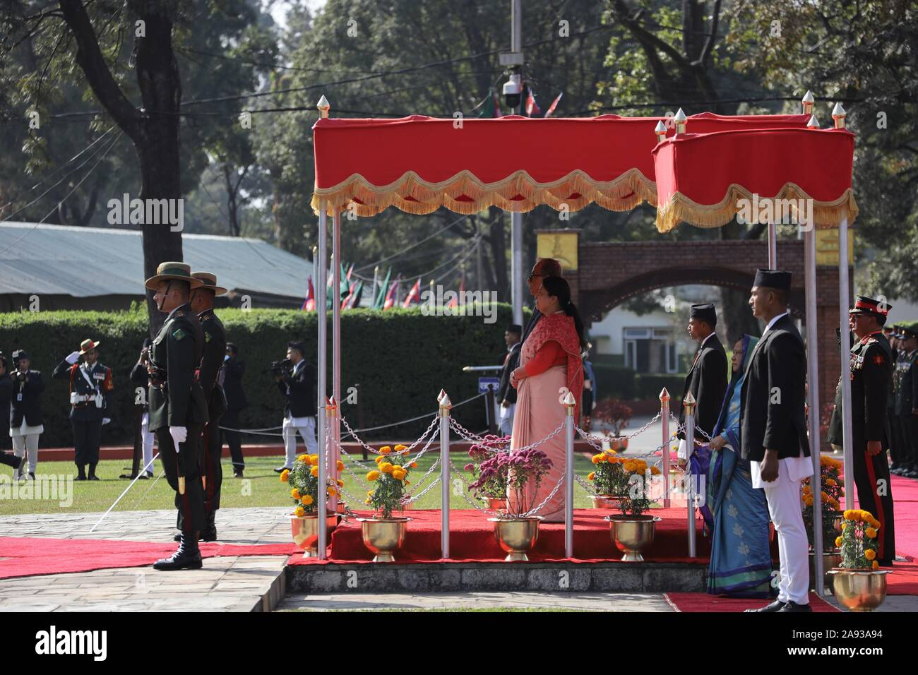 Kathmandu, Nepal. 12th Nov, 2019. President of Bangladesh, Abdul Hamid offer a guard of honor by a contingent of the Nepal Army at at Tribhuvan International Airport, Kathmandu, Nepal on Tuesday, November 12, 2019. President of Bangladesh, Abdul Hamid is on a four-day official goodwill visit to Nepal at the invitation of President of Nepal Bidhya Devi Bhandari. (Photo by Subash Shrestha/Pacific Press) Credit: Pacific Press Agency/Alamy Live News Stock Photo