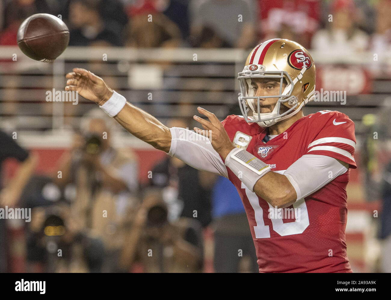 Santa Clara, California, USA. 11th Nov, 2019. San Francisco 49ers quarterback Jimmy Garoppolo (10) on Monday, November 11, 2019, at Levis Stadium in Santa Clara, California. The Seahawks defeated the 49ers 27-24 in Over Time. Credit: Al Golub/ZUMA Wire/Alamy Live News Stock Photo