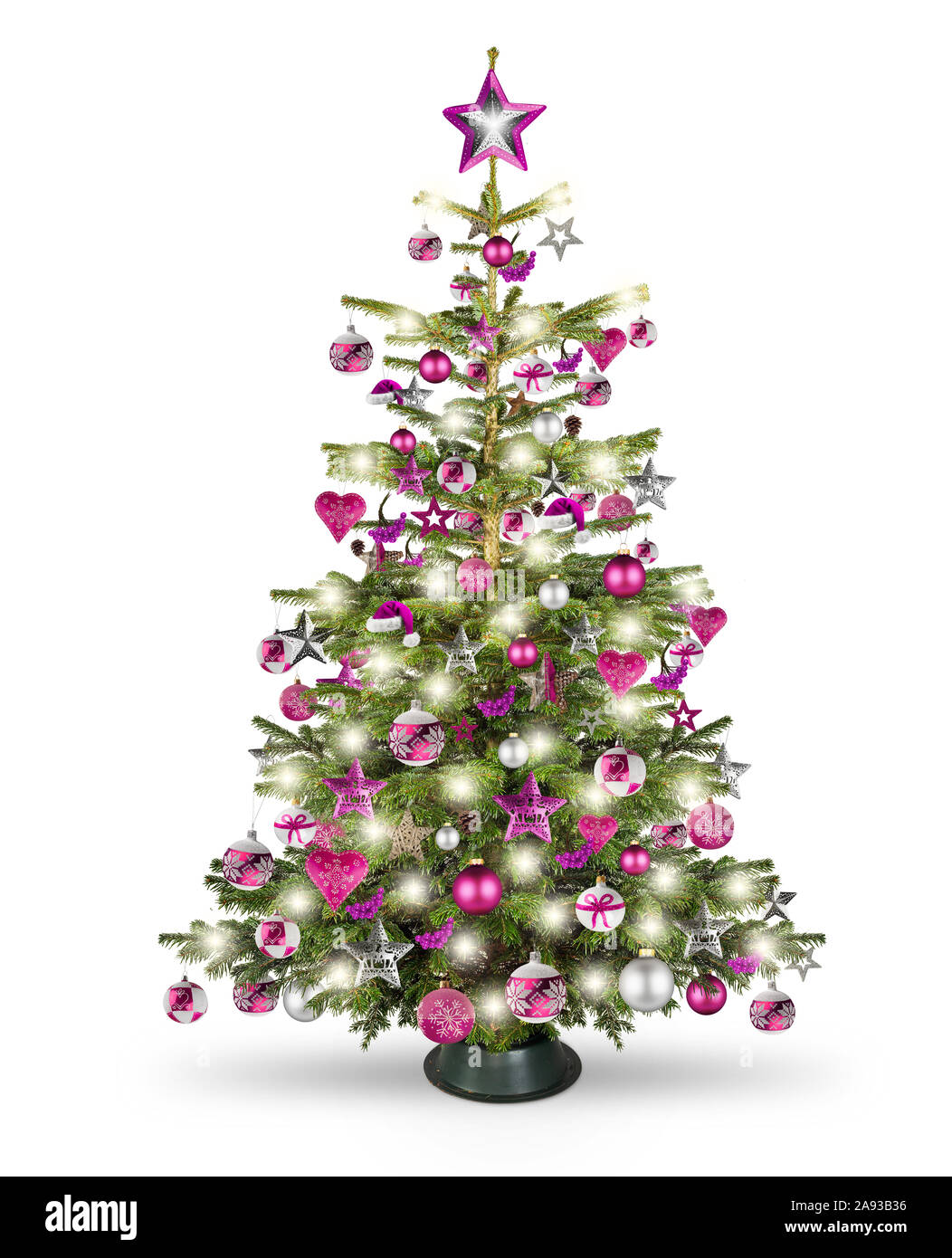 Real Natural Nordmann Xmas Christmas Tree With Pink Purple Red Silver And Wooden Decoration Bauble Star Heart And Bright Led Lights Isolated On White Stock Photo Alamy