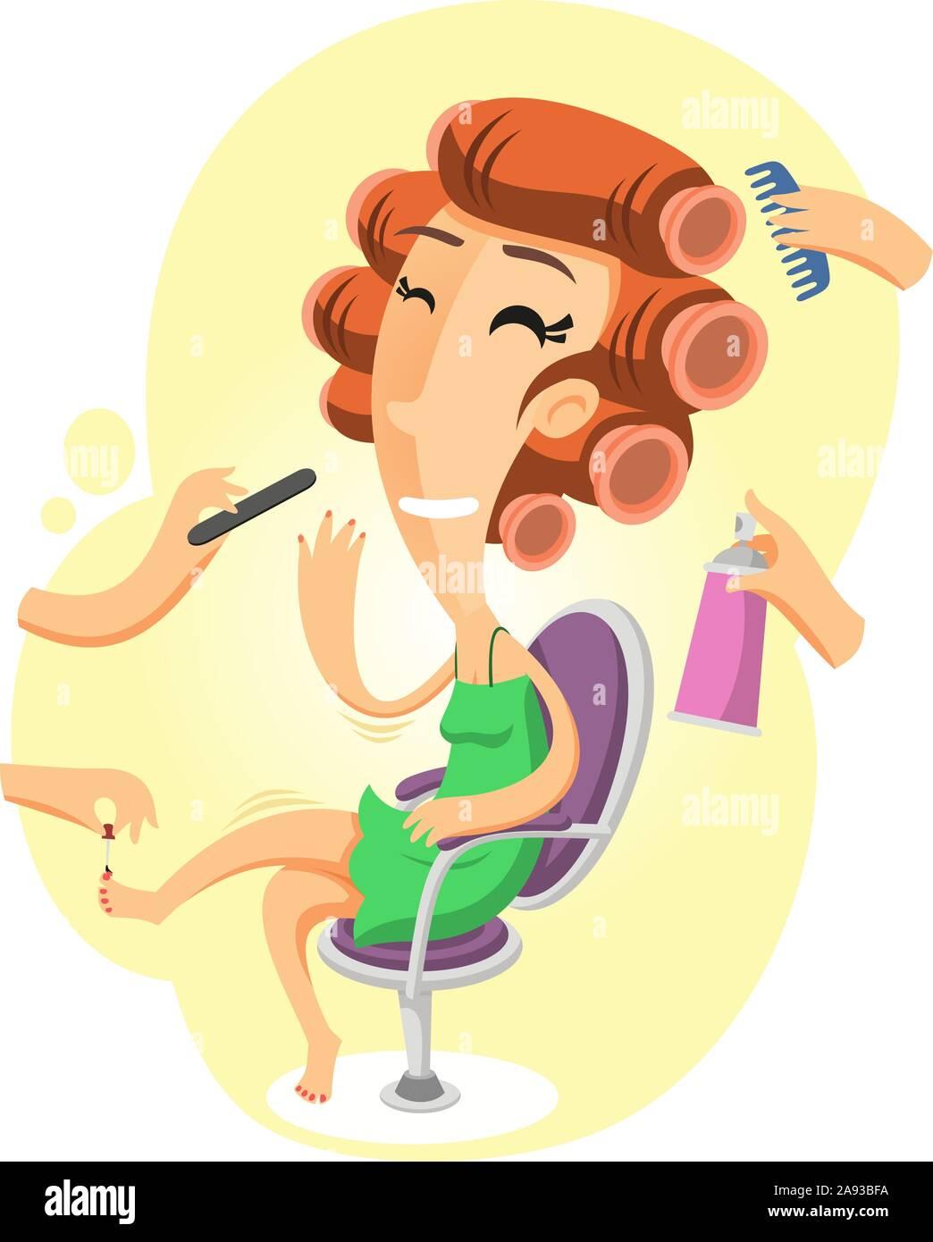 Beauty Salon Cartoon Illustration Stock Vector Image Art Alamy