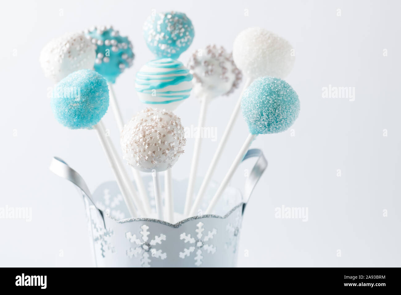 Blue And White Cake Pop Bouquet Stock Photo Alamy