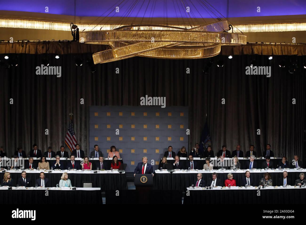 New York, USA. 12th Nov, 2019. President Donald Trump speaks at the Economic Club of New York Luncheon on Tuesday, November 12, 2019 at the New York Midtown Hilton in New York City. Photo by Jason Szenes/UPI Credit: UPI/Alamy Live News Stock Photo