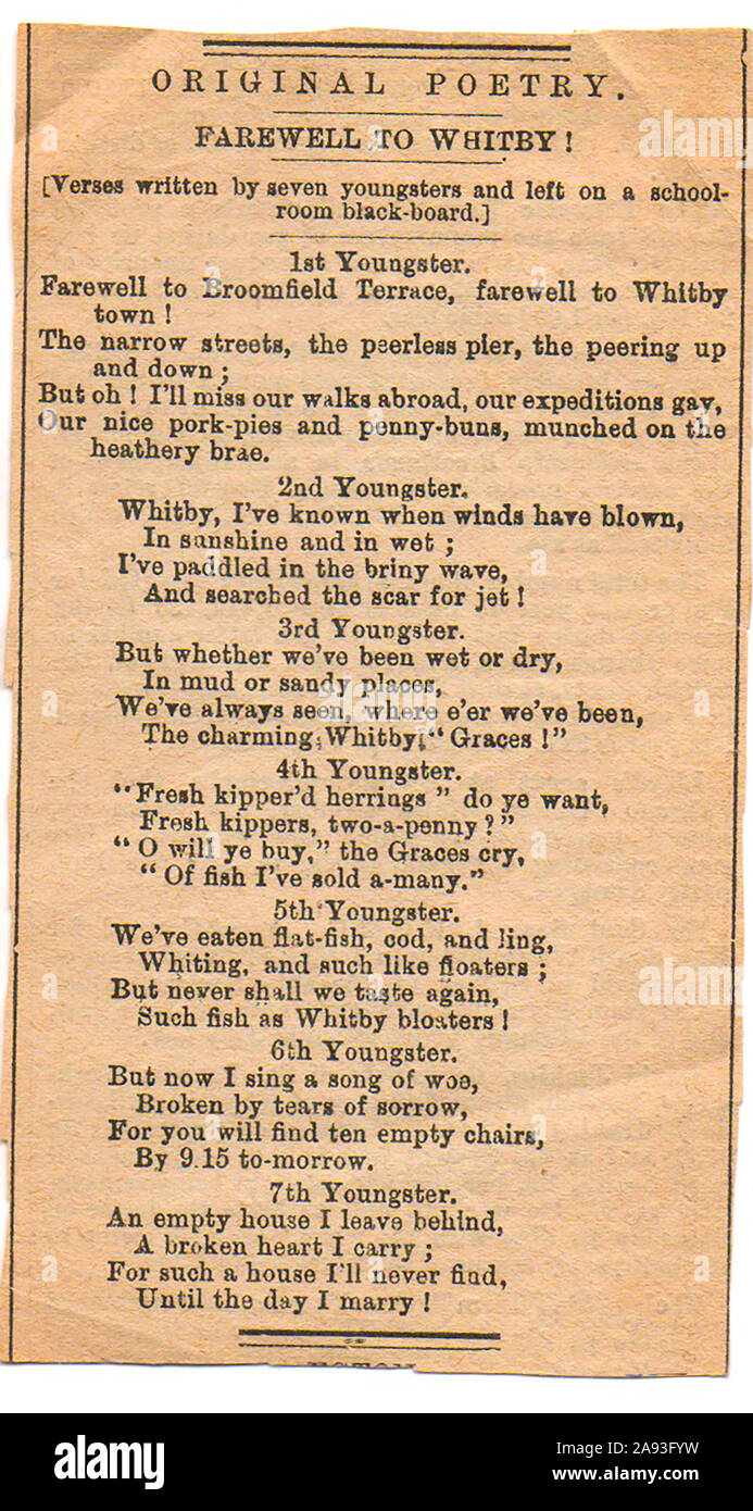 1883 poem  'Farewell to Whitby' (Yorkshire) left on the blackboard of a boarding school when pupils left the school Stock Photo