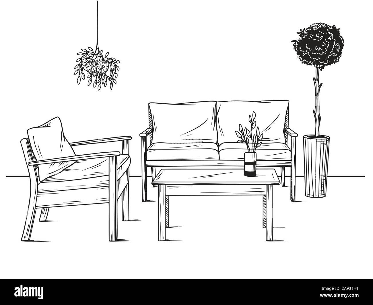 Set of furniture for the garden. Armchairs, sofa and table among the plants. Vector illustrations in sketch style Stock Vector