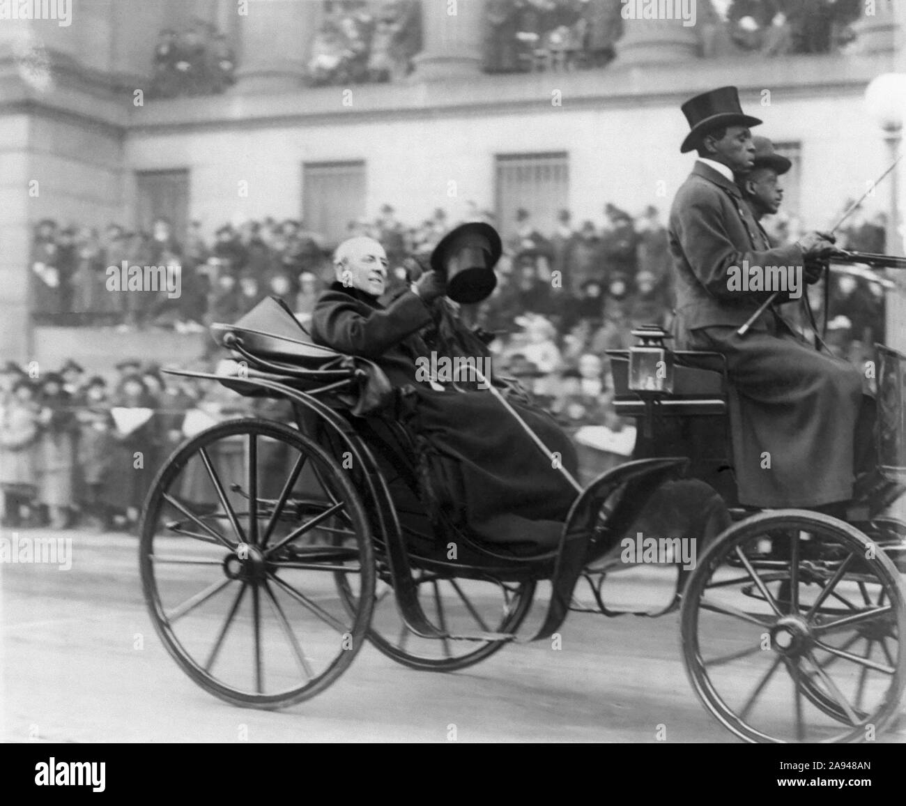 Former U.S President Woodrow Wilson and his Wife Edith Bolling Wilson Riding in Horse-drawn Carriage to Burial of Unknown Soldier, Armistice Day, Photograph by Herbert E. French, National Photo Company, November 11, 1921 Stock Photo
