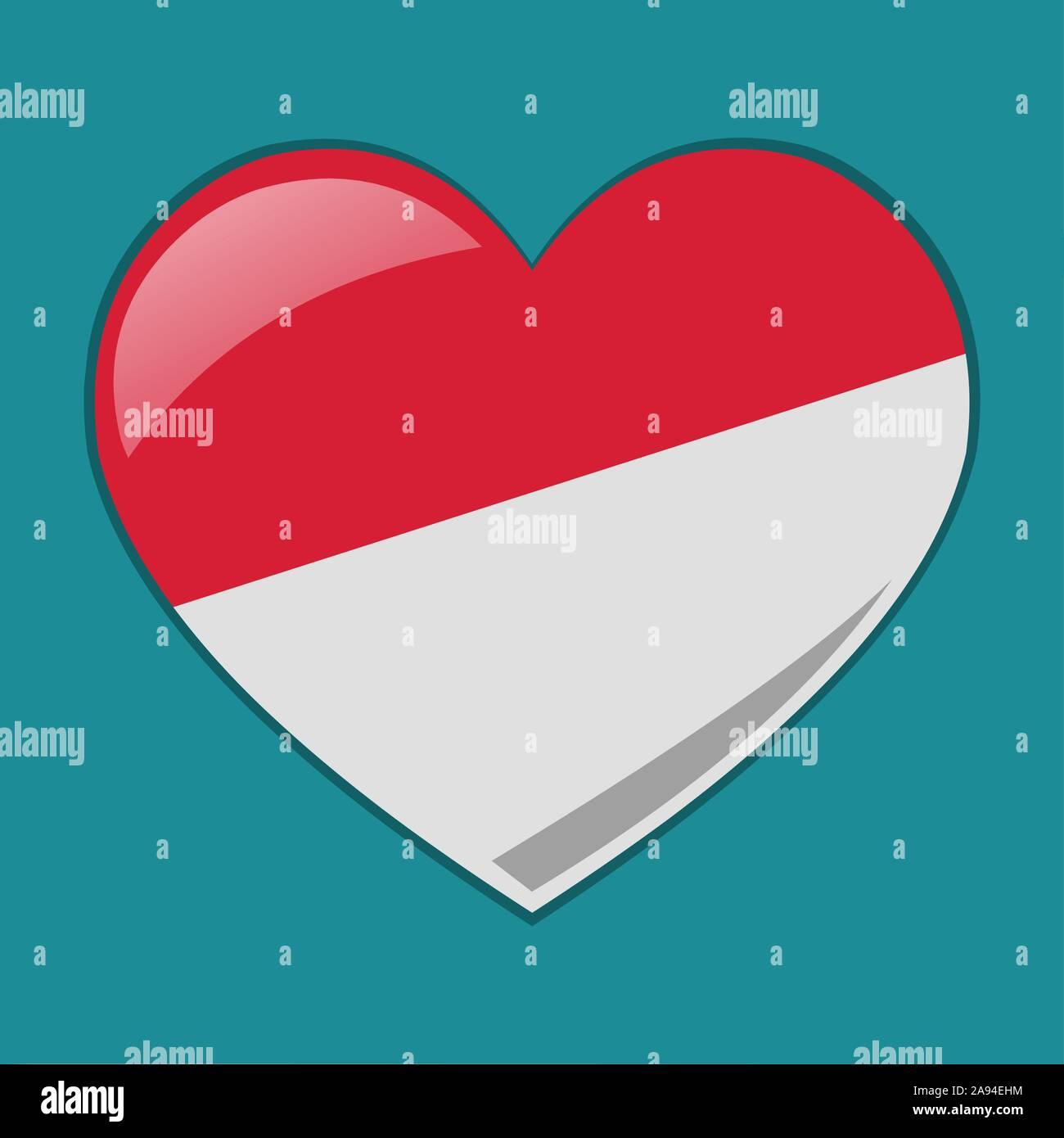 heart with indonesian or monaco  flag vector symbol illustration Stock Vector