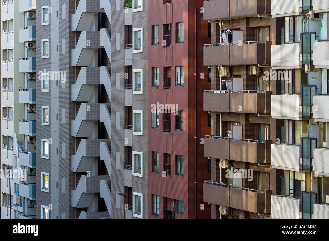 A street of high-rise apartment buildings in Myogadani, Tokyo, Japan Sunday November 10th 2019 Stock Photo
