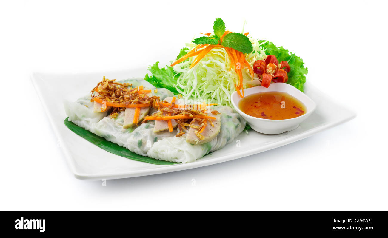 Rice flour Rolls Stuffed with ground pork and green onion ontop with Vietnamese Pork Saucesage Served with sweet dipping sauces  Vietnamese Food style Stock Photo